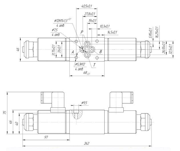Габаритные и присоединительные размеры гидрораспределителя с механическим управлением от ролика РМР 6.3.