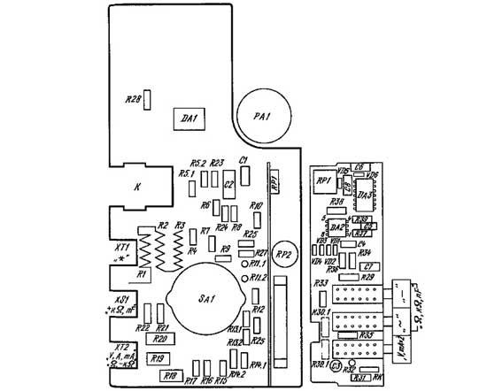 Схема размещения элементов комбинированного прибора