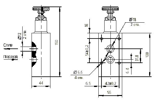 Условное обозначение Клапан предохранительный с резьбовым присоединением и рабочим давлением до 6.3 МПа...